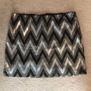 Black, Gold, and Silver Chevron Sequin Mini Skirt